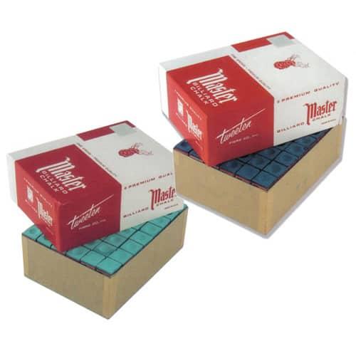 Master Snooker Pool Cue Chalk Green & Blue 144 Box
